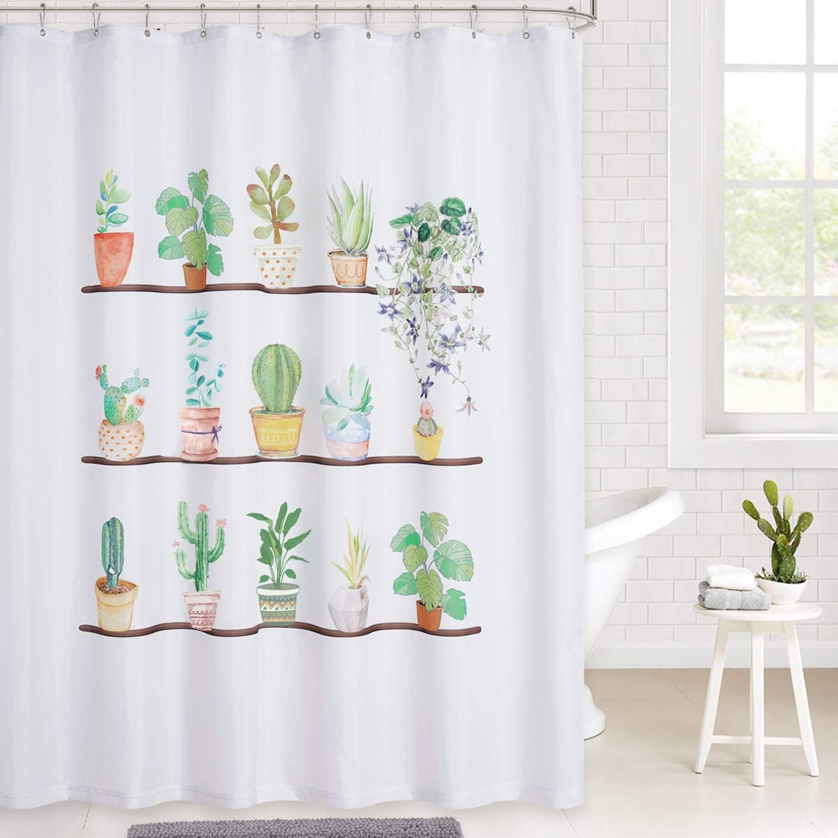 Bathroom Waterproof Fabric Shower Curtain Set Watercolor Potted of Plants Cactus