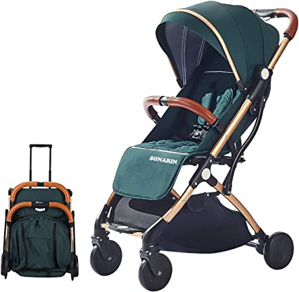 SONARIN Lightweight Stroller,Compact Travel Buggy,One Hand Foldable,Five-Point Harness,Great for Airplane(Green)