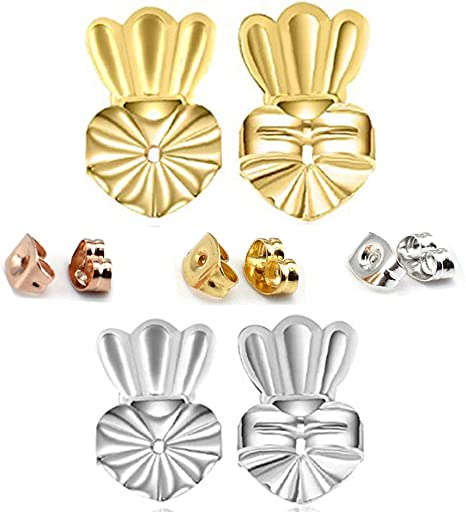 BEADNOVA Magic Earring Lifter Earring Back for Droopy Earring Bullet Clutch with Pad for Heavy Earring Heart Style, 3 Colors Mix - Gold Plated, Silver, Rose Gold