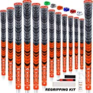 SAPLIZE Golf Grips Standard/Midsize 13 Grips with 15 Free Tapes MultiCompound Hybrid Golf Club Grips, 6 Colors