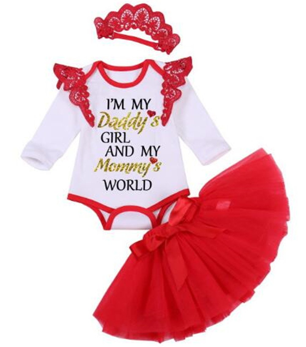 UNIQUEONE 3Pcs Infant Girls I'm My Daddy's Girl and My Mommy's World Letters Romper+Tulle Skirt+Lace Headband Set Size 0-3Months/Tag60 (White)