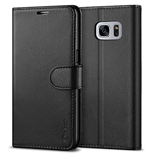 VAKOO Galaxy S7 Wallet Flip Cases, Samsung S7 Folio Case, Premium PU Leather Cases Phone Cover for Samsung Galaxy S7 - Black ()