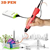 3D Pen For Kids ,Newest 3D Printing Pen Compatible ABS PLA Filament, KT-PRASE Portable 3D Printer Drawing Pen LCD Screen Supports Mobile Power (Red)