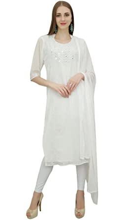 f43021d4dd Atasi Women's Designer White Embroidery Salwar Suit with Dupatta Party Wear  - 4