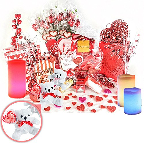 Romantic Gifts. Chocolate Godiva Gift Set with Teddy Bear and Moon Candles