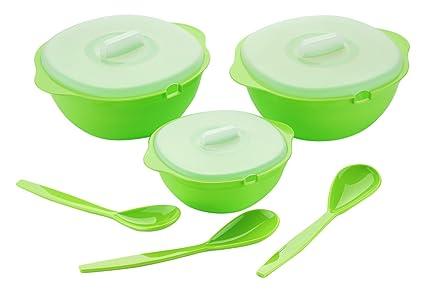 Amiraj Plastic Serving Bowl Set, 6-Pieces, Transparent/Green