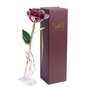 Prémium Saint Femme D'or 24k Cadeau Valentin Cadeaux Eternelle Jttvo fleur Couverte Pour Anniversaire Vrai Idées Eternel Rose 7ybgY6f