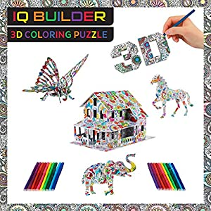 IQ BUILDER | 3D ART COLORING PUZZLES FOR KIDS AND ADULTS | BEST FUN CREATIVE ARTS AND CRAFTS TOY GIFT SET FOR BOYS AND GIRLS AGES 8+ | EASY STRESS RELAXATION | 3 ANIMAL + 1 HOUSE WITH COLOR MARKERS