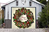 Wreath Christmas Full Color for SINGLE CAR GARAGE Holiday Banner DOOR MURALS Covers Outdoor Decor Billboard 3D Effect Print Decorations of House Garage Door Cover Size 83 x 96 inches DAV204