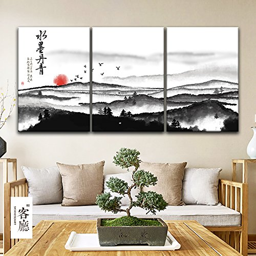 3 Panel Chinese Ink Painting Style Landscape with Mountain and Rising Sun x 3 Panels