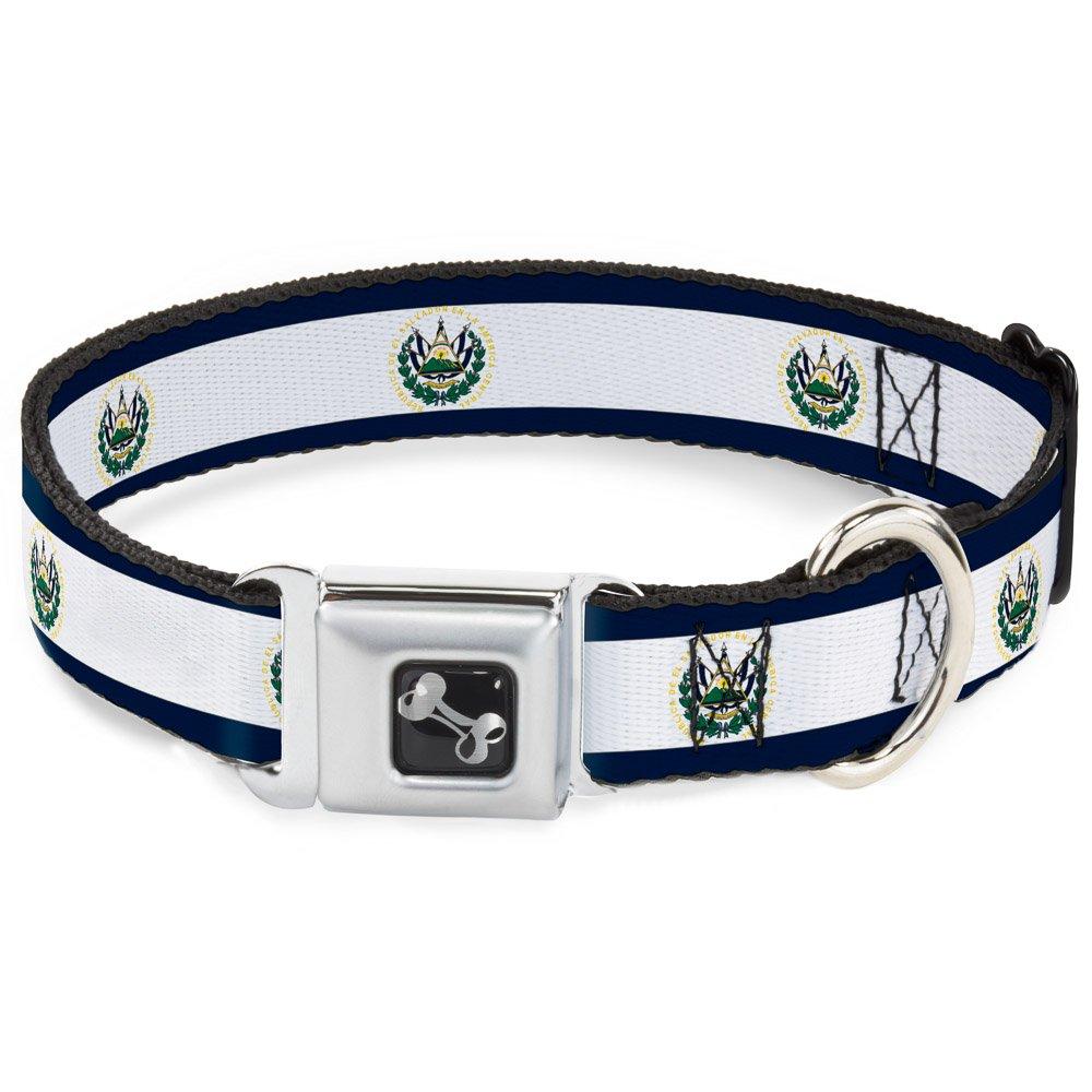 Buckle-Down El Salvador Flag Dog Collar Bone, Medium 11-17
