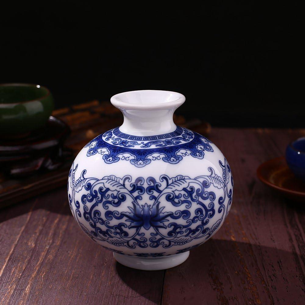 Hanbaili Vases en C/éramique Antique en Porcelaine Traditionnelle Bleue Et Blanche pour Motif De Fleurs C