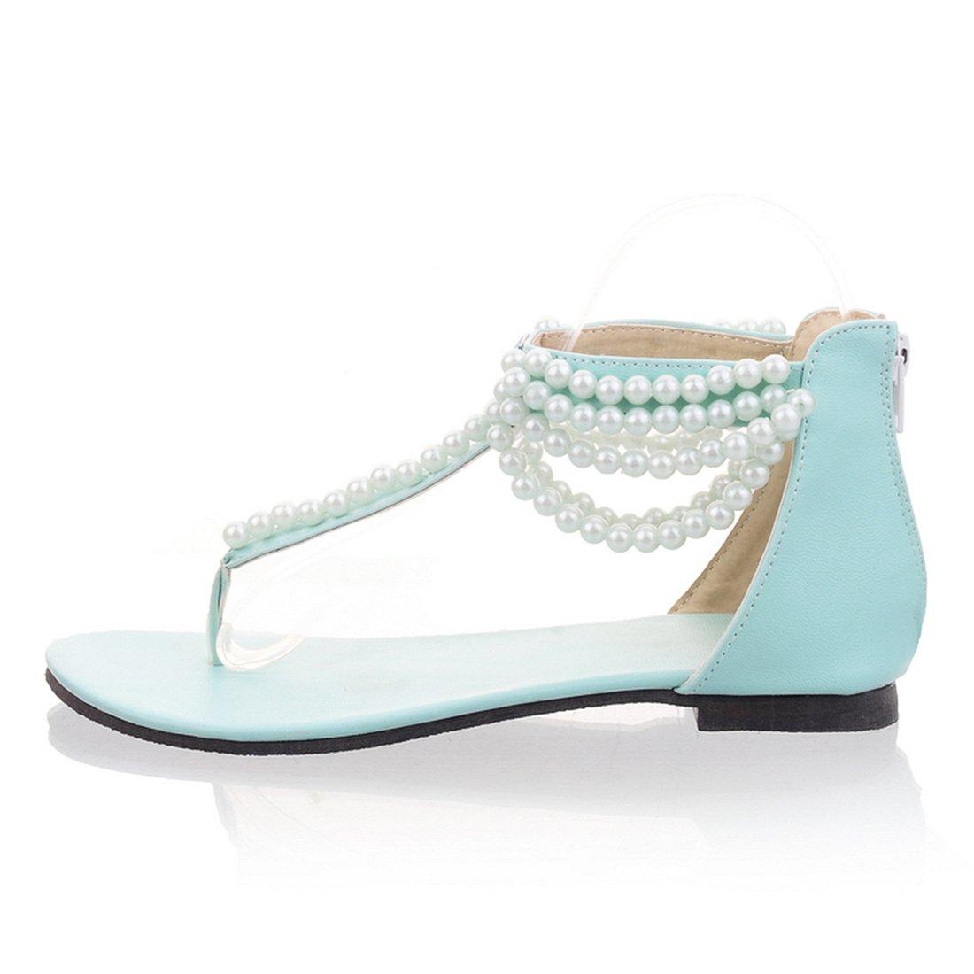 YE Damen Zehentrenner Flache Knöchelriemchen Sandalen mit Perlen und Reißverschluss ohne Absatz Bequem Sommer Schuhe 5QThMnQoQ