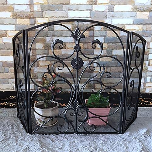 暖炉用品 アクセサ クラシック暖炉スクリーン3パネル錬鉄の装飾メッシュ、スパークガードセーフティドア - 調整幅 - ブラック