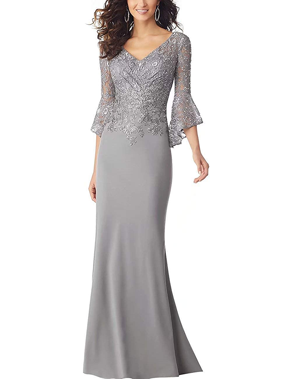 Silver PearlBridal Women's Bodycon Mermaid Mother of The Bride Dresses Lace Ruffle Sleeves Long Evening Party Gown
