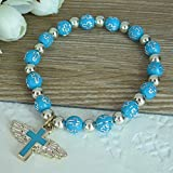 12 Pcs Angel Wing Cross Bracelet Favor for Boy - Baptism Favor / Christening Favor / Bautizo Recuerdos