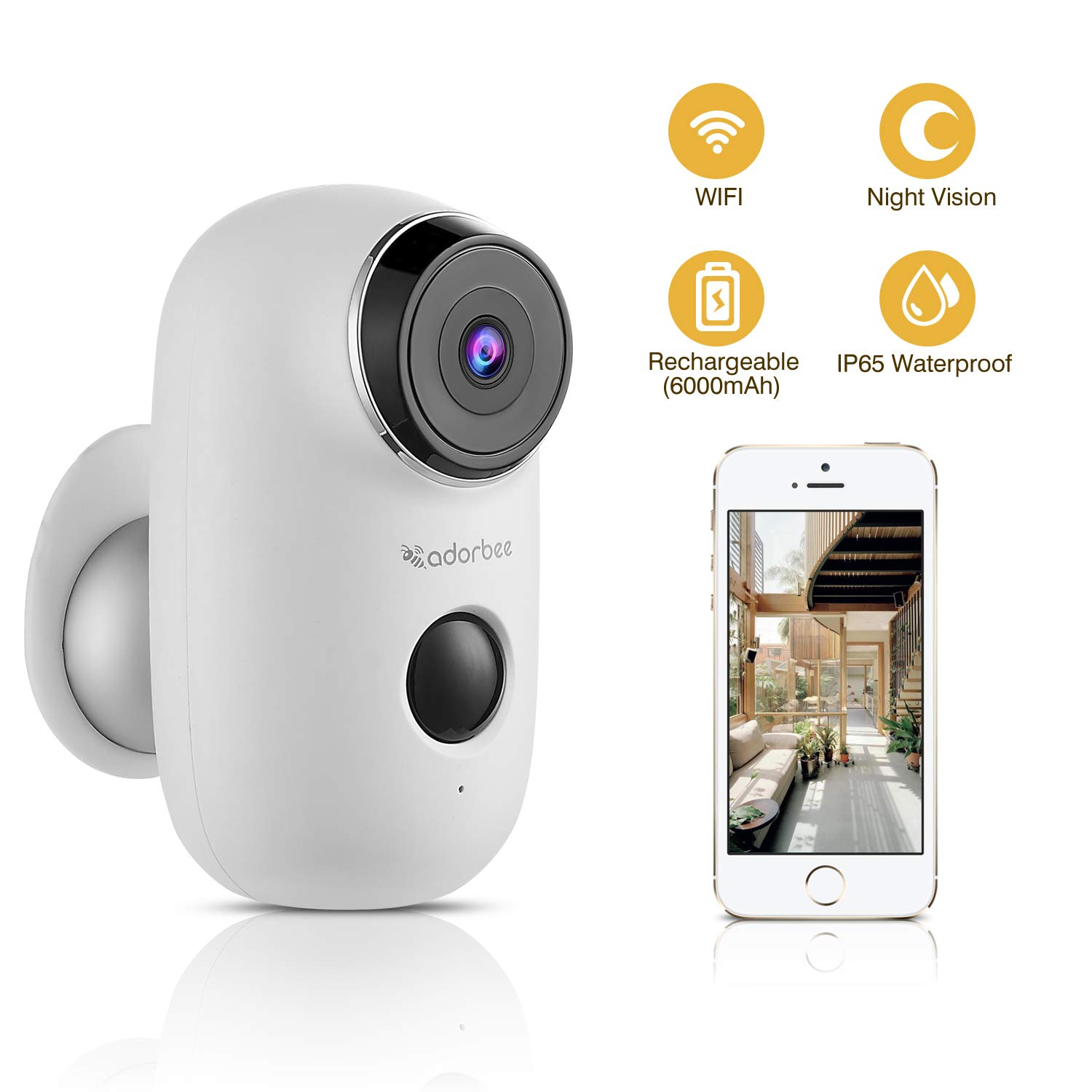 CTVISON Indoor/Outdoor Battery Powered Security Camera,Wireless Rechargeable 6000mAh Home Surveillance WIFI Cam,Support 2-Way Audio,Night Vision w/PIR Motion Sensor & SD Slot, CCTV Video House Monitor by CTVISON
