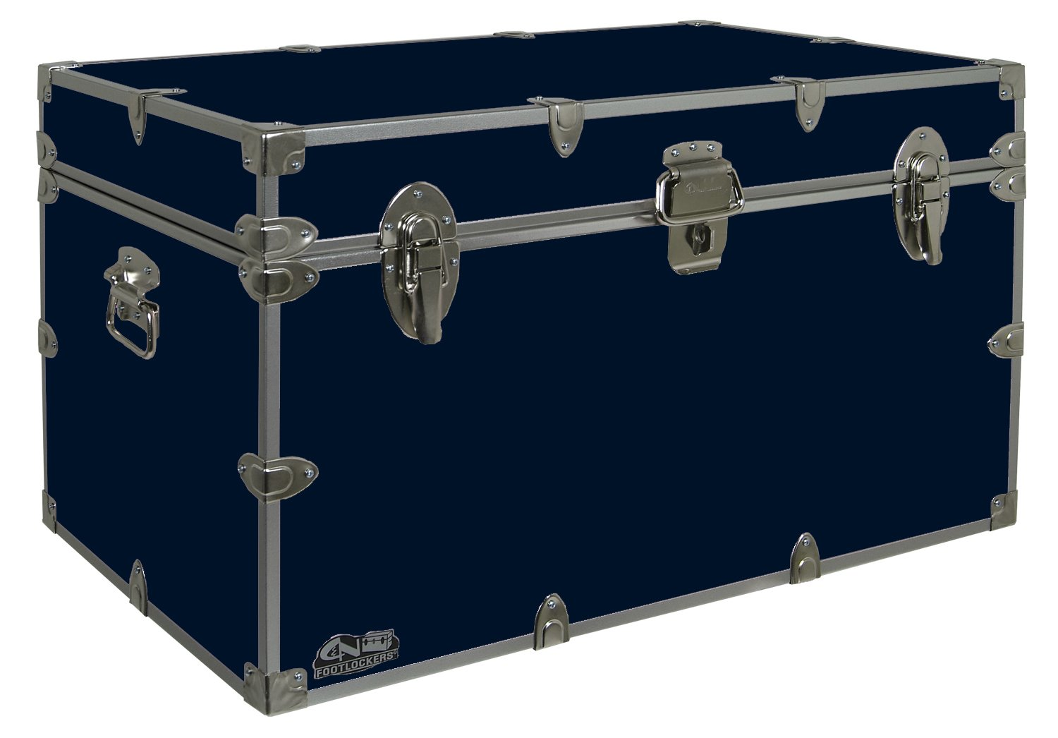 C&N Footlockers Graduate Storage Trunk - Large College Dorm Chest - Durable with Lid Stay - 32 x 18 x 18.5 Inches (Navy)