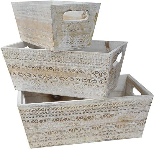 Hogar y Mas Macetero Decorativo de Madera Vintage Set 3, Cajas de Almacenamiento para Jardín 17,5x29x11,5 cm: Amazon.es: Hogar