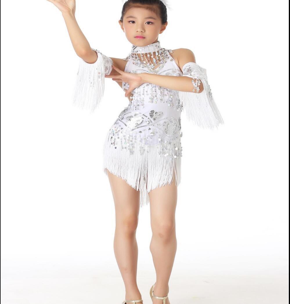 Disfraz de Danza Latina para niñ os Disfraz de Danza Latina Su LIU Falda de Danza Latina Blanca/Amarilla / Rosa roja/roja / Azul, m, White SMACO-Concurso de ropa de baile latino para niños
