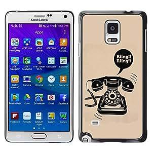 FECELL CITY // Duro Aluminio Pegatina PC Caso decorativo Funda Carcasa de Protección para Samsung Galaxy Note 4 SM-N910 // Ring Rotary Vintage Phone Landline Poster