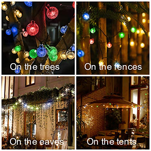 Solar String Lights Outdoor Garden Waterproof, 8 Mode LED Lights String Solar Powered, 50 LED 23 ft Crystal Bulb Ball Fairy lights, Festival Decorative Lighting for Garden Home Wedding Christmas Party