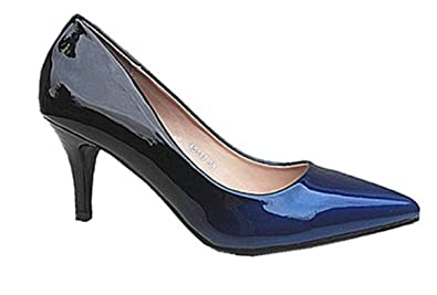 fashionfolie Femme Escarpins Vernis Dégradés Rouge et Noir à Bouts Talon  Aiguille A5117 Noir Bleu ( 45d491485b0e