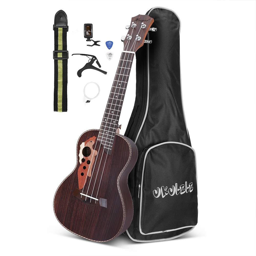 Concert Ukulele Hosgor 4 String Rosewood 23 inch Hawaii Ukulele with Ukulele Set Tuner Capo String Strap Gig Bag