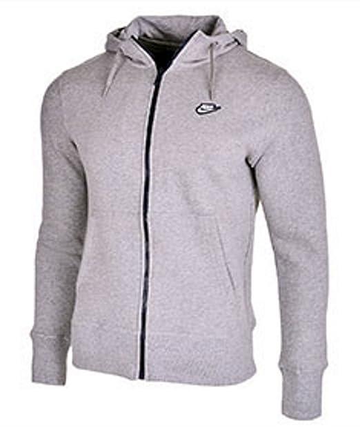 Nike - Sudadera polar con capucha y cremallera para hombre - Gris/azul marino - X-Large / Pecho 106-111cm: Amazon.es: Deportes y aire libre