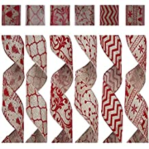 """SANNO Wired Burlap Christmas Ribbon, Holiday Party Ribbon Decorations, Assorted Rustic Patterns Classic Fabric Ribbons Crafters Ornaments 36 Yards (2.5"""" Width x 6Yard Each) - Red"""