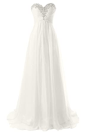 Xcici Strapless Beach Wedding Dresses Simple Bride Dress Chiffon Gown Long Prom Gown Ivory US2