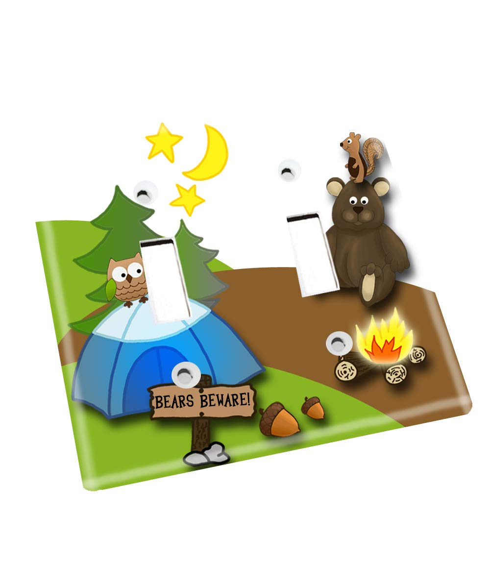 Forest Creatures Camping Nursery Bedroom Light Switch Cover LS0114 (Double Standard) by Toad and Lily