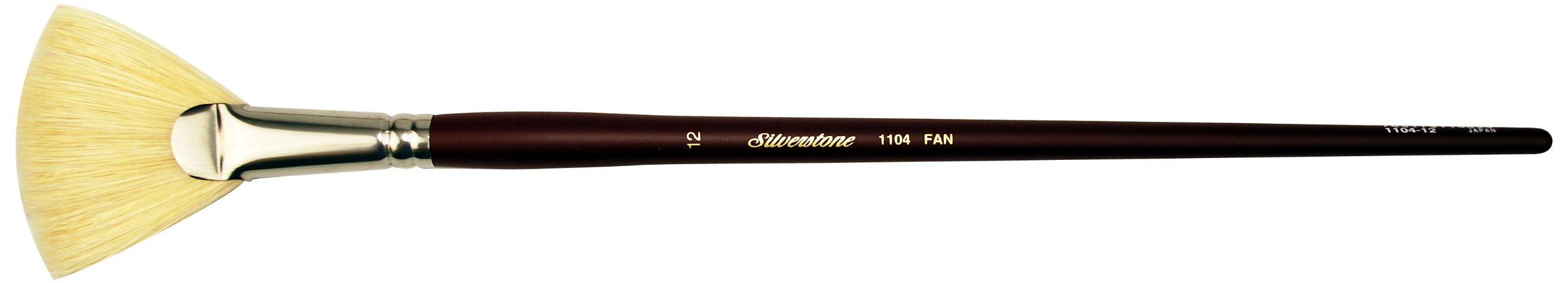 Silver Brush 1104-12 Silverstone Excellent Long Handle Hog Bristle Brush, Fan, Size 12
