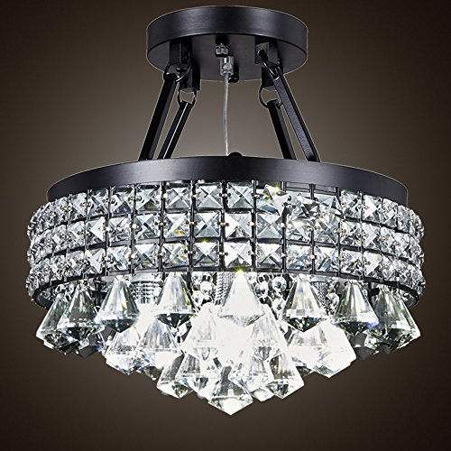 SwanHouse Flush Mount Chandelier Pendant Ceiling Lighting Black Modern KTN-15i-4L/B 16x16x9