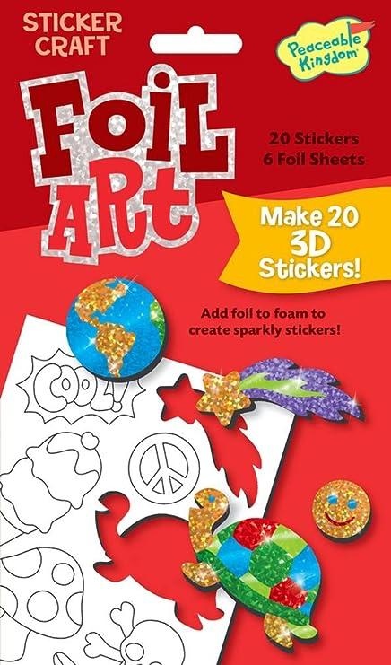 Peaceable kingdom sticker crafts make my own fun stuff 3d foil art stickers kit for kids