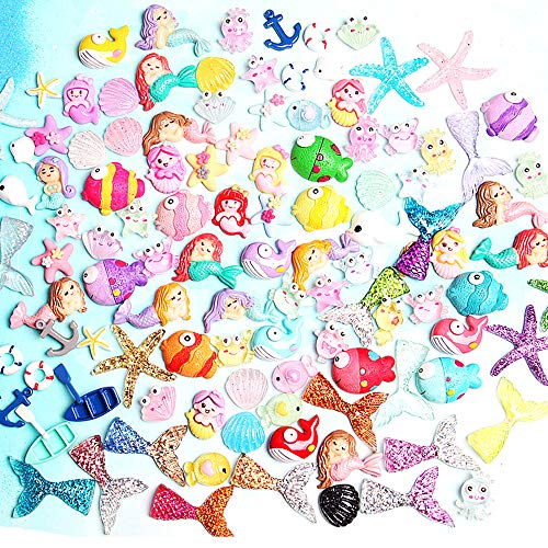 Kwartz 60 Pieces Slime Charms Cute Set with Mixed Mermaid Tail,Unicorn,Starfish and Animals Resin Flatback Slime Beads for Kids and Adults Craft Making,Ornament Scrapbook DIY Crafts