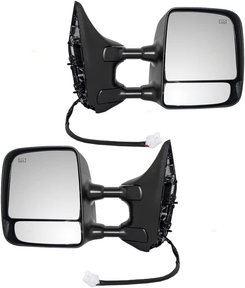 Pair Set Tow Power Side View Mirrors Heated Telescopic Dual Arms Replacement for Nissan Titan Pickup Truck 96302ZR00E 96301ZR00E