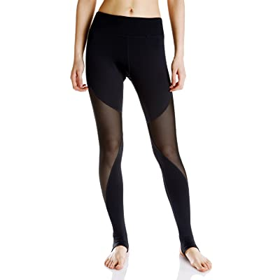 Luxja Mesh Yoga Leggings, Stirrup Leggings,Gym Pants with Inner Pocket , Black( S-XL )