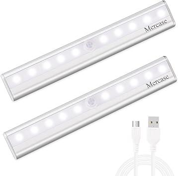 detector de movimiento Luces de armario con detector de movimiento magn/éticas adecuadas para armarios de habitaci/ón de los ni/ños 30 LED recargables luz nocturna LED USB autom/ático//ON//OFF