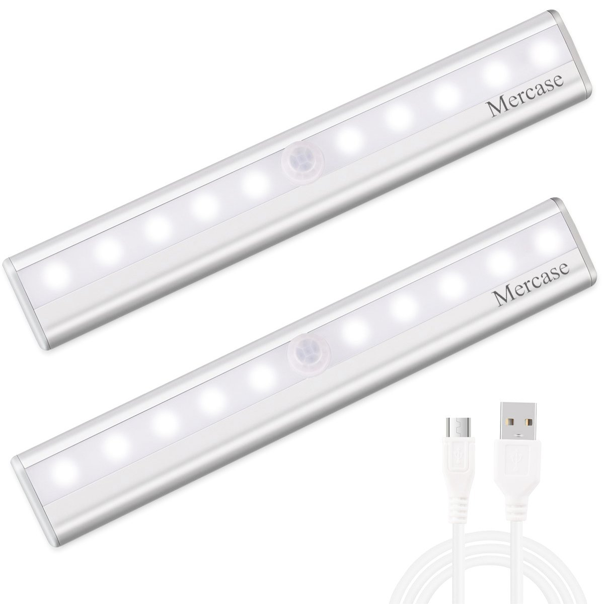 Mercase Motion Sensor Cabinet Lights, 10 LED Light Bar USB Rechargeable Removable Magnetic Strip for Bedoom, Kitchen and Bathroom