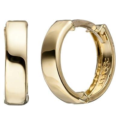 df0e351aed50 Pendientes de aro 13 mm Pendientes Oro Pendientes de aro pendientes joyas  redondo plano 333 Oro amarillo  Amazon.es  Joyería