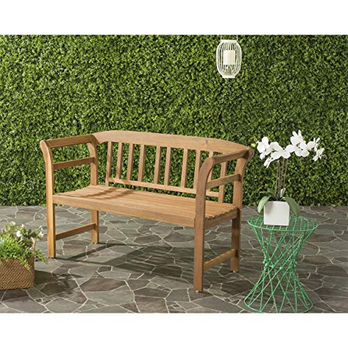 Safavieh PAT6742A Outdoor Collection Porterville 2 Seat Bench, Natural