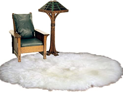 Fur Accents Classic Round Sheepskin Rug Shaggy Off White Faux Fur 7 Ft Diameter