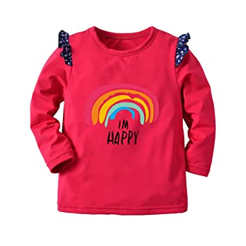 e4be06d2b Warm Thick Pullover Shirt Top For Children Kids Girl Long Sleeves Solid  Letter Rainbow Floral Hem