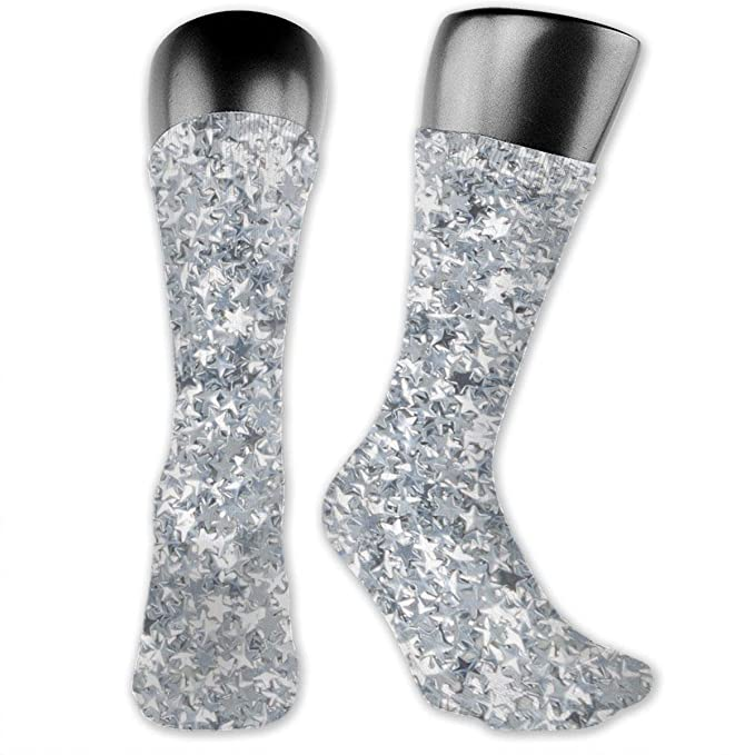 e8de720471f Amazon.com  Silver Glitter Star Casual Unisex Sock Tube Socks Sport  Athletic Crew Socks  Clothing