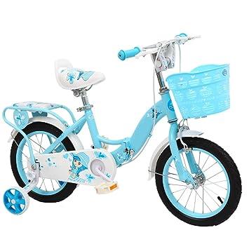 ZCRFY Bicicleta para Niños Infantiles Niñas Estudiant Pequeños Bebé Ajustable Bicicletas Plegable con Canasta Acero Al