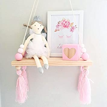 KING DO WAY Wandregal Schweberegal Holz Ständer Schaukel Hängenden  Wandregal Macaron Board Mädchen Kinderzimmer, Größe: 38x14x1,2cm Weiß rosa  Rosa ...