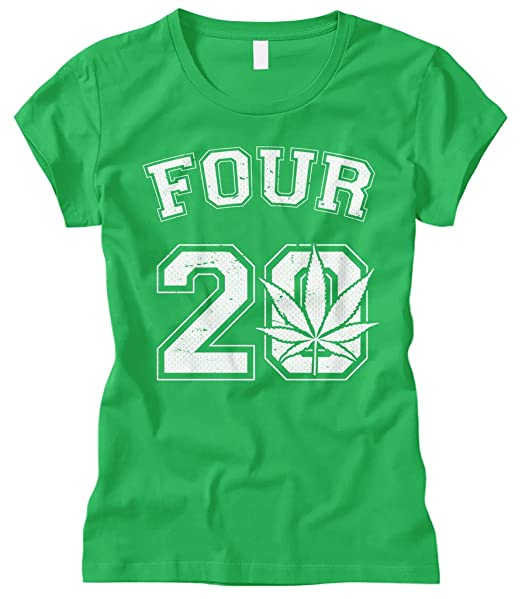 Cybertela Women's Four 20 Marijuana Weed 420 Fitted T-Shirt (Black, Medium)
