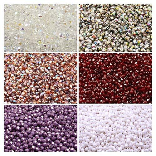 600 beads 6 colors Czech Fire-Polished Glass Beads Round 3 mm, Set 316 (3FP002 3FP003 3FP009 3FP012 3FP036 3FP050)