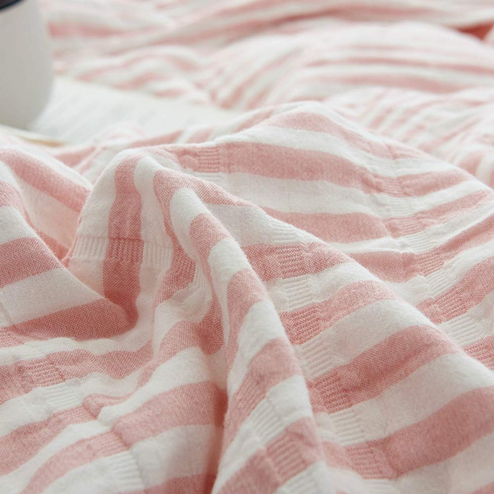 Cozzy Soft Comfortable Cotton Muslin Bed Throw Blanket for Adult Teens Lightweight Thin Quilt Summer Bedding Coverlet Pinstriped Pattern Full Size 79x90 Pink and White
